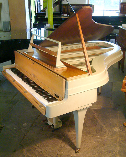 Rippen Grand Piano with an aluminium case at Besbrode Pianos Leeds