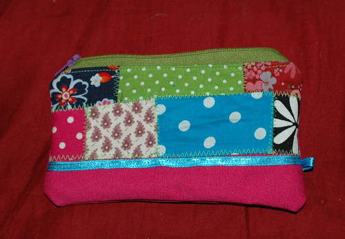 zipper pouch  with crazy patchwork