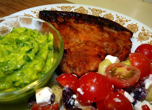 Peri Peri Pork Chop with quick guacamole & salad