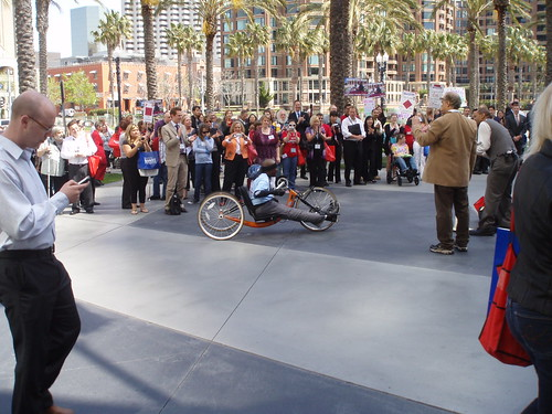 Erik Williams arrives at the CSUN conference on his hand-bike