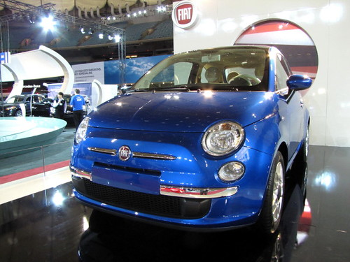 Blue Fiat at Vancouver International Auto Show