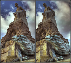 Beauty and the Beast 3D (cross-view) (rawshooter72) Tags: sky detail statue canon eos dc stereoscopic 3d crosseye crosseyed cross frankfurt sigma os stereo stereoview chacha mrchenbrunnen cha hdr hdri 1850 spm crossview 3xp photomatix xview tonemapped 2845 hsm 2ev stereophotomaker 1000d