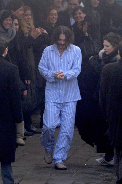 Johnny Depp wearing pajamas scene