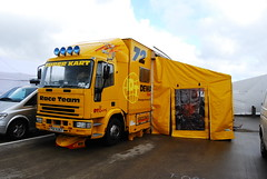 Rig (Moments of Yesterday) Tags: england cars wheel yellow truck wagon awning open seat super tent racing canvas lorry silverstone single formula artic league kark v12 superleague superkart pdz6367