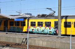 Dutch train graffiti (010fuss) Tags: train graffiti blauw ns delft banana vandalism damage geel trein spoor banaan vandalisme