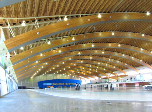 Richmond Oval post-2010 Olympics renovation - hardwood courts for basketball, volleyball, indoor soccer, badminton etc.