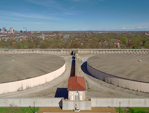 Compton Hill Water Tower, in Saint Louis, Missouri, USA - view of reservoir tanks