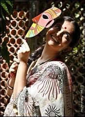 the m0ment of celebration ... 1417 (_ the aLbaTr0ss) Tags: new light shadow portrait beauty smile face festival lady campus lens daylight glamour mask sweet expression year style du celebration tip through festivity moment lovely simple saree bangladesh bengali sadia 1417 dipa noboborsheranondo