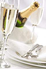 Champagne flutes (Denis Vrublevski) Tags: eve party glass neck festive happy gold bucket bottle scenery holidays crystal drink anniversary napkin toast champagne year beverage knife bubbles fork victory fresh special celebration alcohol plug cheers romantic cloth congratulations celebrate occasion liquid registration bubbly flutes fizz laying congrats uncork