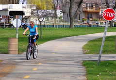 Sit and Snap Pic (FrogBum) Tags: bike bicycle spring michigan candid stopsign harrisontownship metroparks huronclintonmetroparks harrisontwp huronclinton metrobeachpark