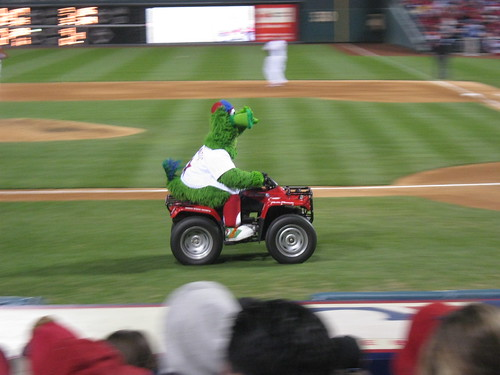 Phillie Phanatic speeding along