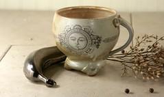 Free Pewter Banana with Mug (mudstuffing) Tags: sculpture woman cup motif girl face lady ceramic design eyes stencil hand handmade made bust mug pottery decal etsy tumbler