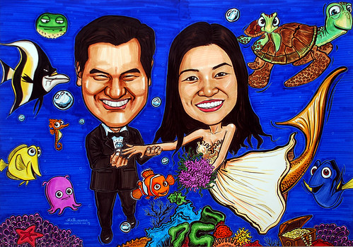 underwater Mermaid wedding couple caricatures A1 size - colour