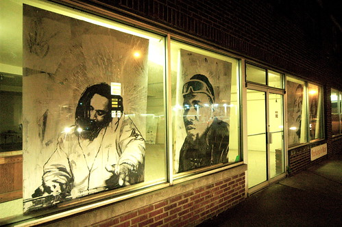 On the streets of Ashvegas: Art in windows of Dry Goods Store on Haywood Road