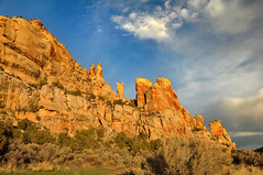 spires at dry fork canyon wider (houstonryan) Tags: ranch cliff landscape photography utah sandstone photographer ryan houston sadie dry fork canyon cliffs photograph navajo vernal formations uintah maesar houstonryan mckonkie