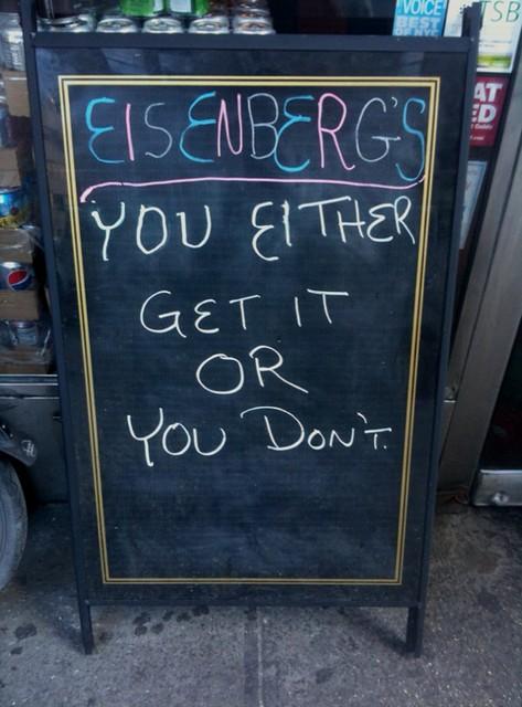 sign at Eisenberg's #walkingtoworktoday