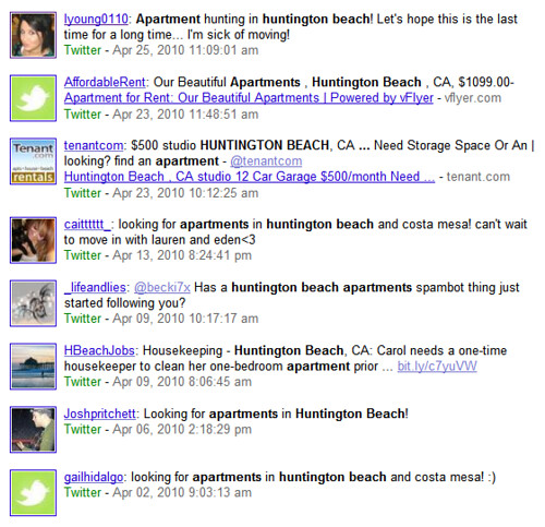 Huntington Beach Apartments & Twitter Results