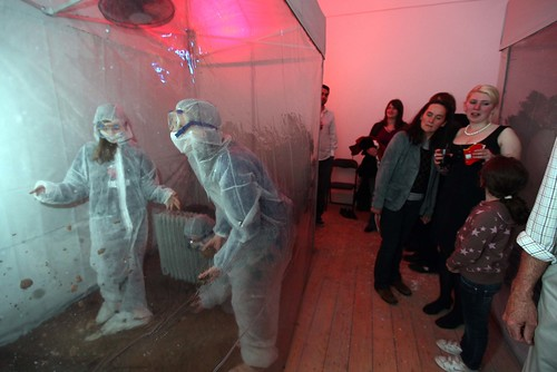 Testers in a heated tent at monochrom\