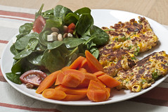 Corn Fritters with Carrots and Salad