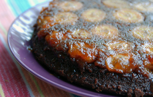 Chocolate Caramel Banana Upside-Down Cake