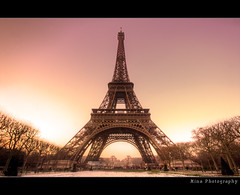 Eiffel Tower  (II) :: HDR (Mina Photography) Tags: old bridge trees sunset snow paris france tower big europe tripod eiffeltower landmark eiffel symmetry best mina chirstmas hdr contiki sigma1020 3exp contikitrip canon40d minaphotography