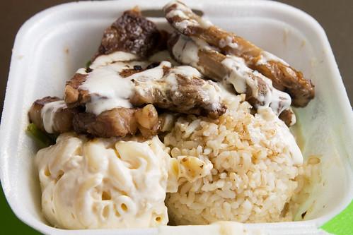 short ribs, mac salad, and brown rice