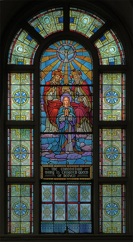 Immaculate Conception Roman Catholic Church, in Maplewood, Missouri, USA - stained glass window of the Coronation of Mary