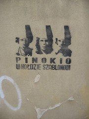 Pinokio (mediafury) Tags: trip travel family vacation 3 man men graffiti three cool stencil funny europe paint european hats poland polska spray warsaw pinocchio trzy pinokio wholdzie szablonowi