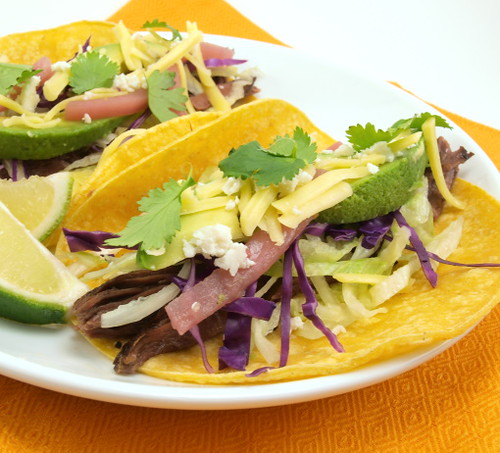 Shredded Garlic Beef Tacos
