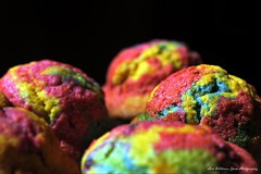 Rainbow Muffins (Wilamber) Tags: blue light red party food black green cooking cakes yellow cake kids muffins interesting rainbow colours dof bokeh exploring treats william lord snacks muffin exploration boarder chard lordwilliamchard wwwlordwilliamchardcouk