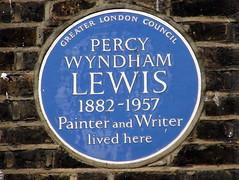 Photo of Percy Wyndham Lewis blue plaque