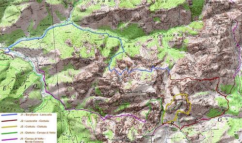 Carte des cinq étapes envisagées pour le trek 2010 Corse sauvage en boucle depuis Barghjana