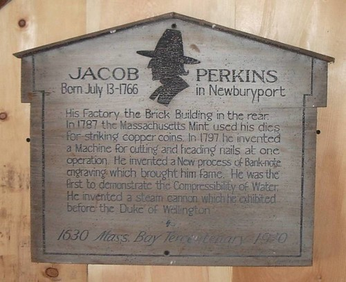 Jacob Perkins Newburyport, MA building: 1st floor Hist. Marker