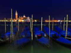 Sleeping Gondolas ~ Venice, Italy (Martin Sojka .. www.VisualEscap.es) Tags: blue venice sky italy church colors night long exposure cityscape tripod vivid olympus gondola bluehour maggiore venezia zuiko gitzo e30 sangiorgiomaggiore 1260 zd 1260mm