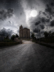 la rocca (Franco Marconi) Tags: italien sunset italy storm art church architecture backlight dark landscape photo europe poetry italia tramonto foto gothic dream surreal fisheye chiesa zen poesia nightmare hitchcock     architettura italie marche  controluce 43  2010 itali alfredhitchcock iphone sogno   lemarche  ascolipiceno   piceno        fourthirds offida    zuiko8mm   fourthird rivieradellepalme  iphonewallpapers iphonebackground olympuse620 santamariadellarocca francomarconi iphone4wallpaper
