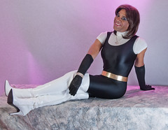 Black Catsuit & Sexy White Thigh Boots (kaceycd) Tags: shiny boots tgirl gloves transvestite tight bodysuit crossdress spandex lycra catsuit tg kinkyboots thighboots unitard operagloves