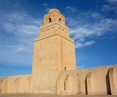 Mosque in Kairouan, Tunisia (Cristina Za) Tags: africa blue tower stone religious northafrica tunisia muslim islam mosque maghreb kairouan anticando