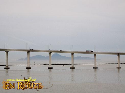 Macau Bridge and Mountain