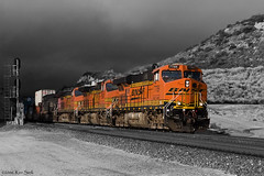 Out of the Gloom (K-Szok-Photography) Tags: california train canon outdoors desert trains socal transportation canondslr 2470l bnsf cajon railroads inlandempire cajonpass alltrains adifferentpointofview sbcusa alltypesoftransport kenszok