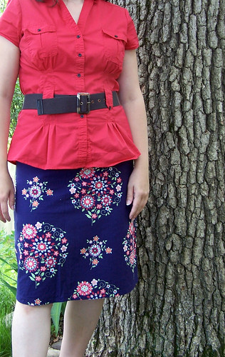 Handmade Blue A-Line Skirt with Coral Top