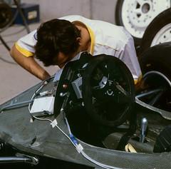 The Renault Cockpit Before the US GP at Long Beach 1983 (Philinflash) Tags: 6x6 car f1 racing hasselblad grandprix longbeach 1983 formula1 motorsport autosport motoracing