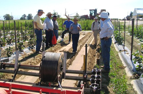 NRCS Soil Conservationist (center) describes the benefits of reducing soil compaction, in this case accomplished by use of a low impact cultivator.