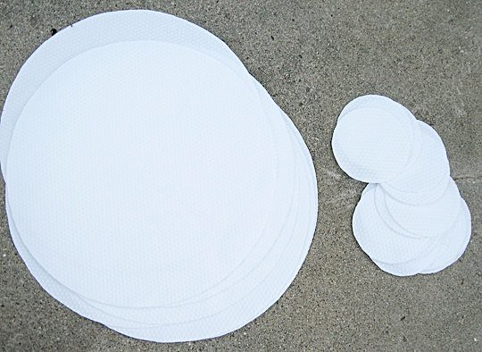 DIY place mats and coasters out of footie pajama fabric+baby shower ideas
