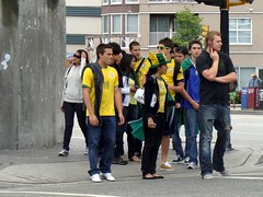 Brazil Fans (knightbefore_99) Tags: street brazil colour station yellow vancouver corner fan bc candid skytrain commercialdrive eastvan thedrive