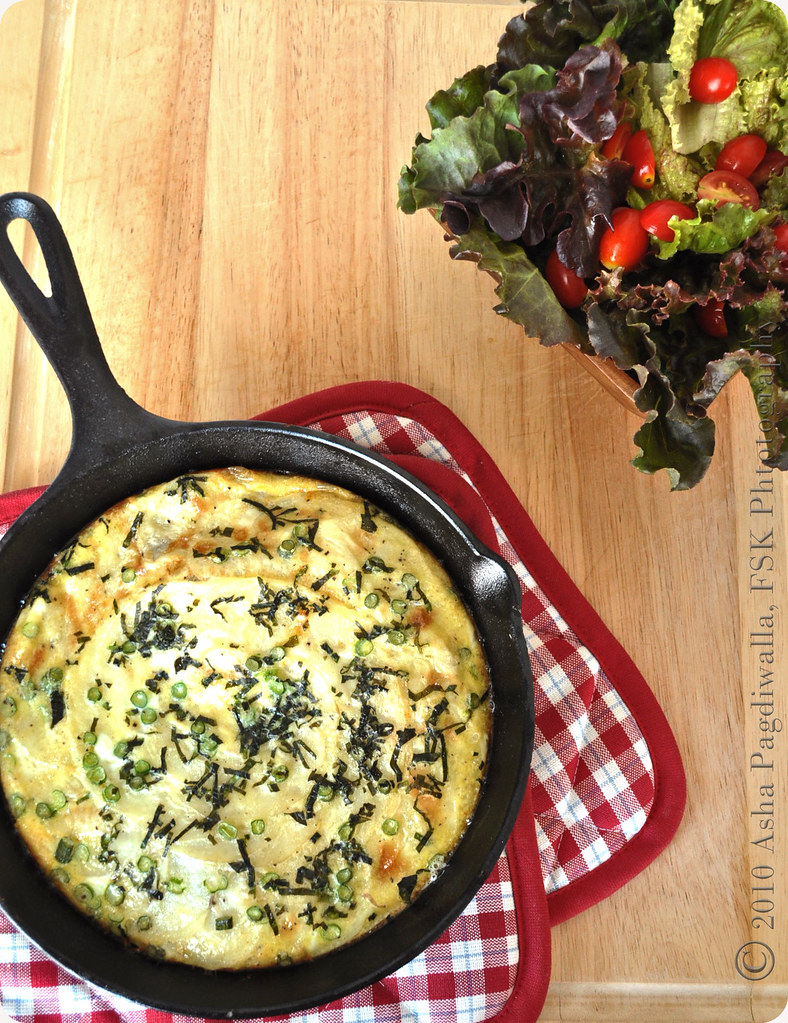 Potato, mint and garlic scape frittata