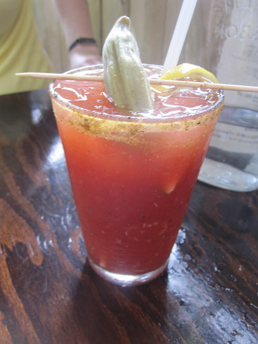 Bloody Caesar with pickled okra at Griffintown café