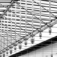 A I C (kevin dooley) Tags: lighting bw white chicago black art lines museum composition canon square 50mm pattern angle ltr geometry patterns c low 14 fixtures angles monotone ceiling diagonal institute cables resolution artinstituteofchicago artmuseum tonal struts chicagomuseum a i 40d aplusphoto
