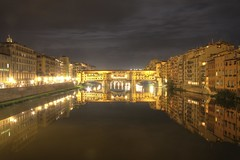 Ponte Vecchio at Night with Perfect Reflection, Firenze, Italy
