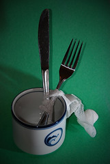 And the Dish ran away with the Spoon (LeftCoastKenny) Tags: green cup nikon flash sb600 knife fork utata nikkor vignette dansk gauze cls mothergoose 18200vr d80 fracturedfairytale utata:description=hide utata:project=ip112