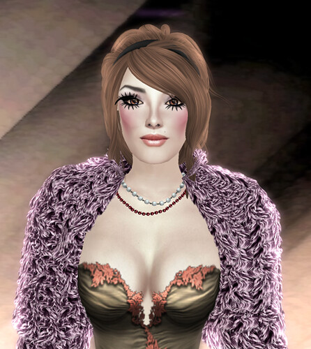 SOPHIA Lace corset - Latte/rose + BD-Dionne purple fur bolero jacket Hunt Item